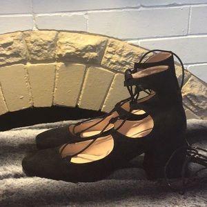 Zara black lace up block heels